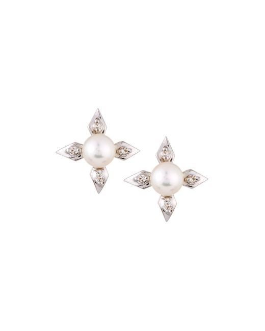 Belpearl | Metallic 14k 4-point Pearl & Diamond Stud Earrings | Lyst
