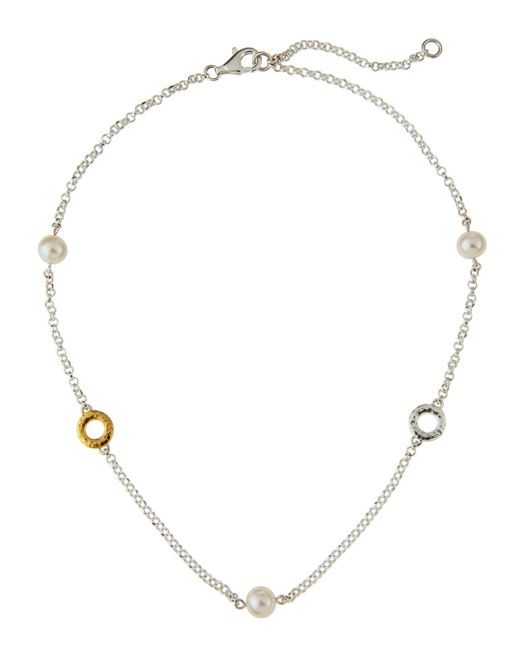 Gurhan - Metallic Spell Short Two-tone Hoop Pearl Station Necklace - Lyst
