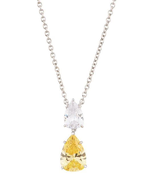 Fantasia by Deserio   Yellow Double Pear-drop Cz Crystal Pendant Necklace   Lyst