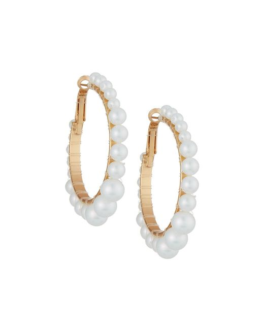 Romeo and Juliet Couture - White Iridescent Pearly Hoop Earrings - Lyst