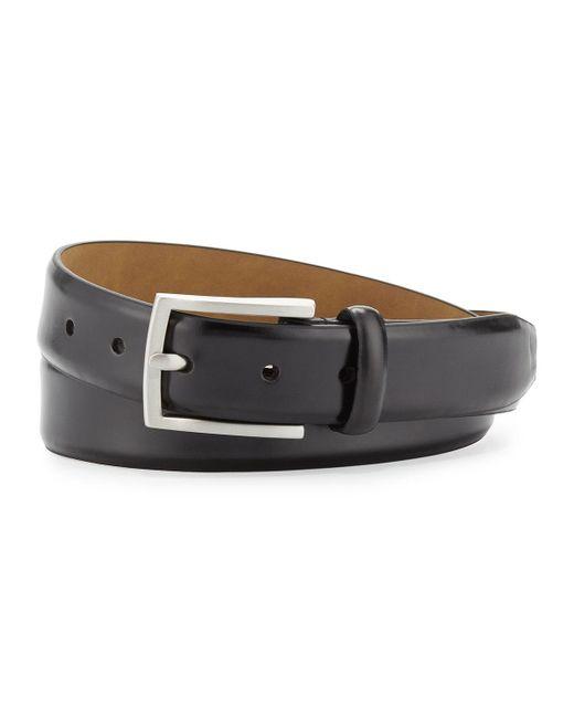 Neiman Marcus | Black Leather 32mm Flap Buckle Belt for Men | Lyst