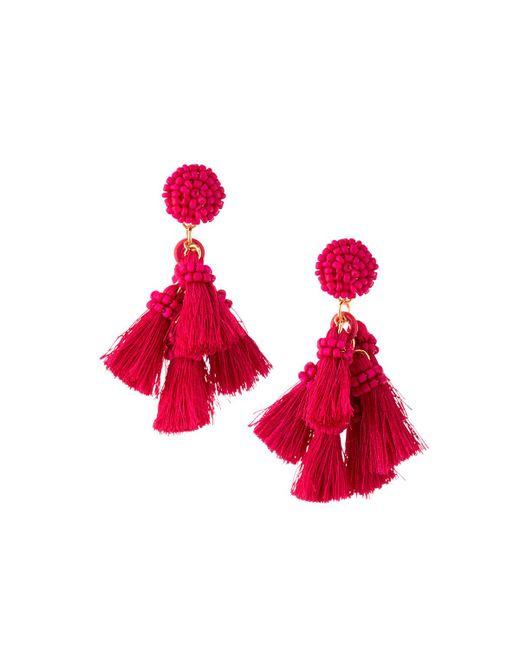 Lydell NYC - Red Multi-tassel Drop Earrings - Lyst