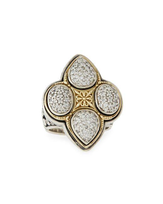 Konstantino - Metallic Pavé Diamond Clover Ring - Lyst