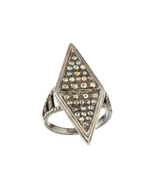 Bavna - Metallic Moonstone & Diamond Kite Ring - Lyst