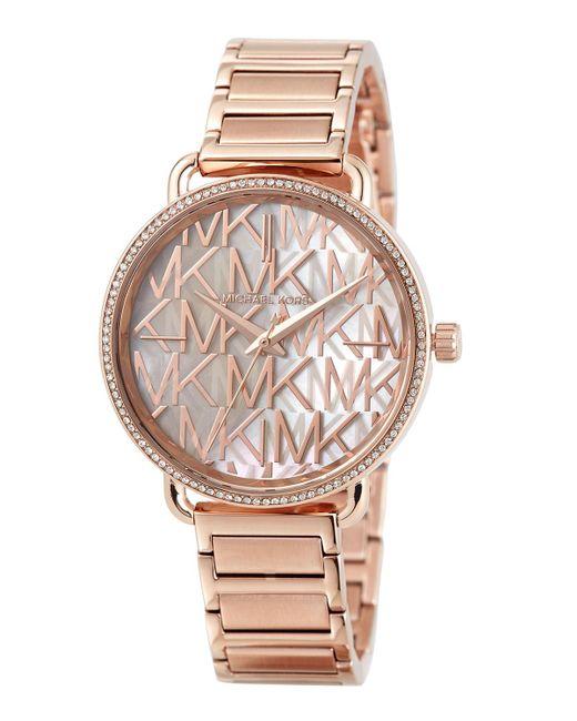 b6d3d818e98e MICHAEL Michael Kors - Multicolor 36.5mm Portia Logo Bracelet Watch W   Crystals Rose Golden ...