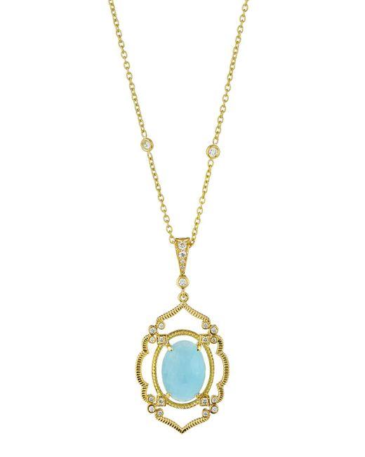 Penny Preville - Metallic Arabesque Aquamarine & Diamond Pendant Necklace - Lyst