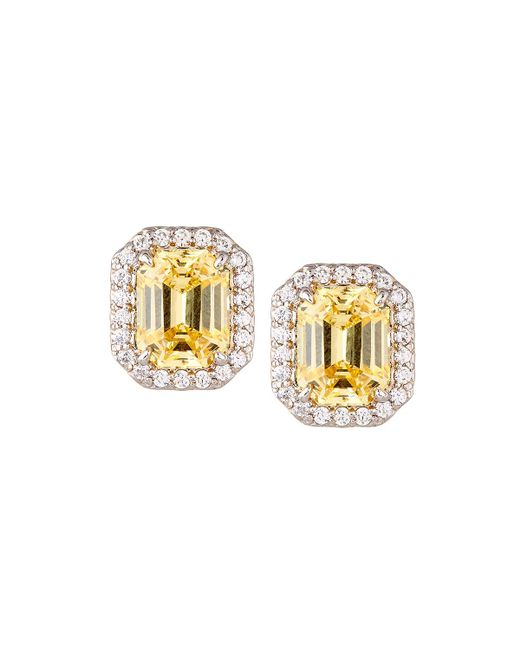Fantasia by Deserio | Yellow Emerald-cut Pave Stud Earrings | Lyst