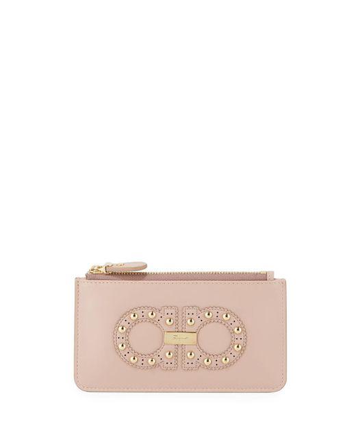 840eb7995b8 Ferragamo - Pink Gancini Studded Small Zip Wallet - Lyst ...
