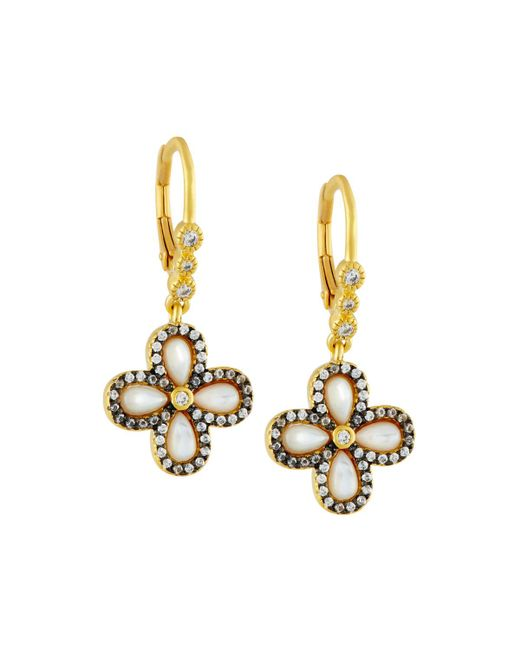 Freida Rothman - Metallic Pave Clover Drop Earrings - Lyst