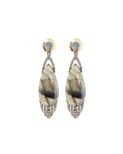 Bavna | Metallic Mixed Labradorite & Diamond Teardrop Earrings | Lyst