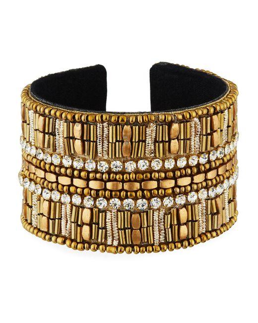 Panacea - Metallic Large Crystal Beaded Cuff Bracelet - Lyst