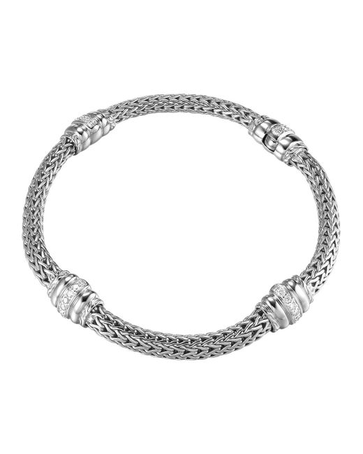 John Hardy - Metallic Bedeg Diamond-station Silver Bracelet - Lyst