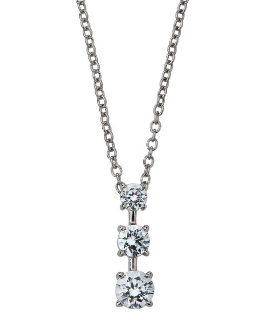 Fantasia by Deserio - Metallic Triple-stone Cz Pendant Necklace - Lyst