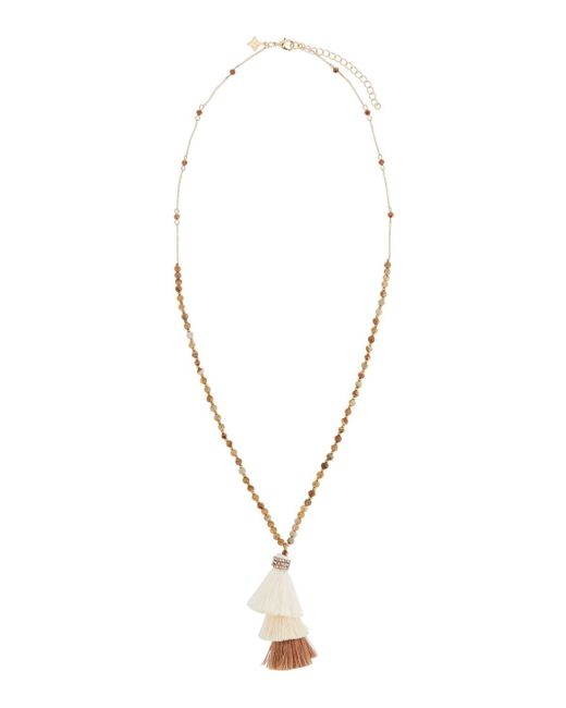 Panacea | Green Long Jasper Beaded Necklace W/ Layered Tassel Pendant | Lyst
