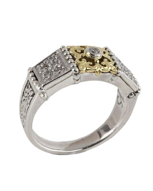Konstantino - Metallic Asteri Slim Floral Pave White Diamond Band Ring - Lyst