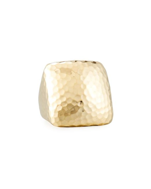 Roberto Coin - Metallic Martellato Square 18k Gold Ring - Lyst