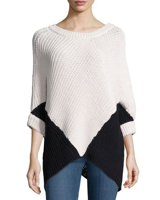 Minnie Rose | Multicolor Colorblock Poncho Sweater | Lyst