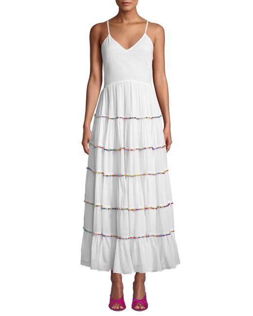 Catherine Malandrino - White Sleeveless V-neck Tiered Cotton Maxi Dress W/ Multicolor Pompom Trim - Lyst