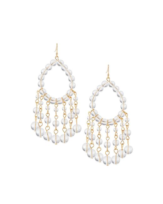 Lydell NYC - Metallic Beaded Crystal Drop Earrings - Lyst