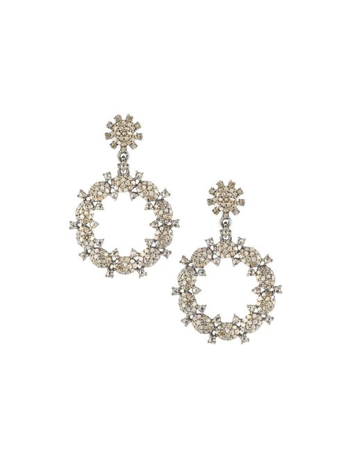 Bavna   Metallic Diamond Pavé Hoop Drop Earrings   Lyst