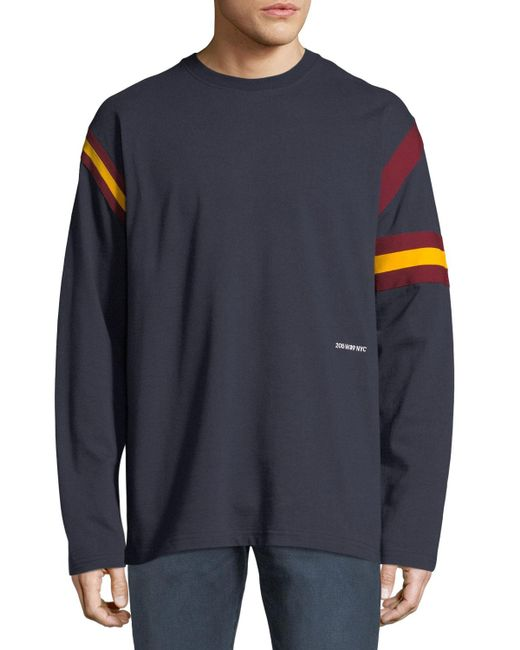 CALVIN KLEIN 205W39NYC Blue Men's Long-sleeve Rugby T-shirt for men