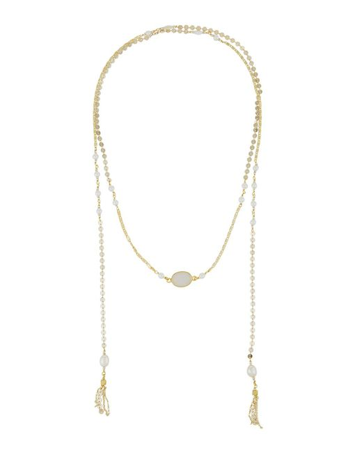 Nakamol   Metallic Disc Chain Lariat Necklace W/ Pearls   Lyst