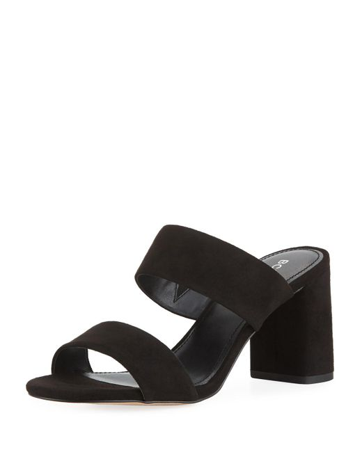 BCBGeneration - Black Bianca Faux-suede Block-heel Slide Sandals - Lyst