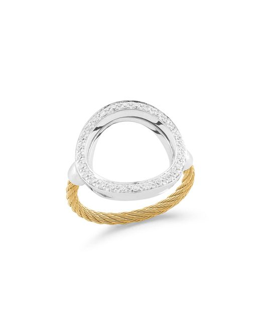 Alor - Open Diamond Pave Circle Ring Yellow Size 6.5 - Lyst