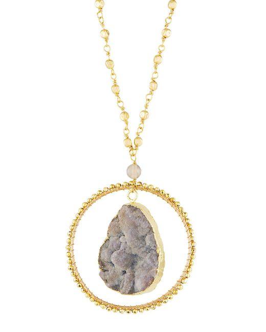Panacea - Metallic Sunstone Circle Pendant Necklace - Lyst