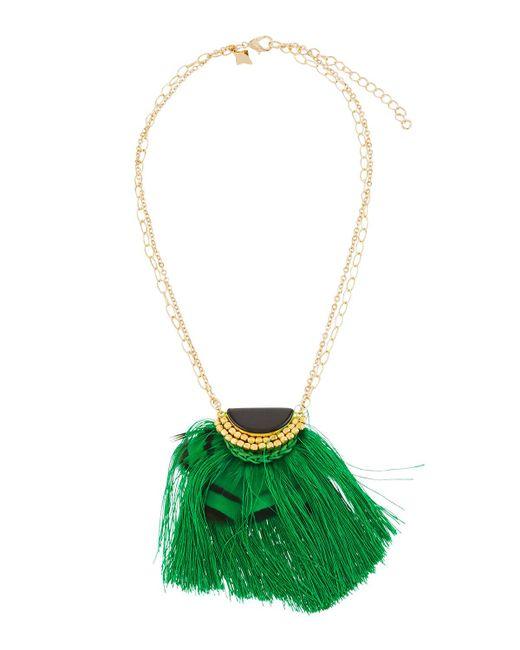 Panacea | Black Onyx Hemisphere & Fringe Pendant Necklace | Lyst