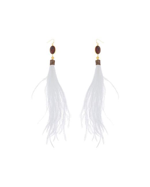 Nakamol - White Feather Garnet Drop Earrings - Lyst