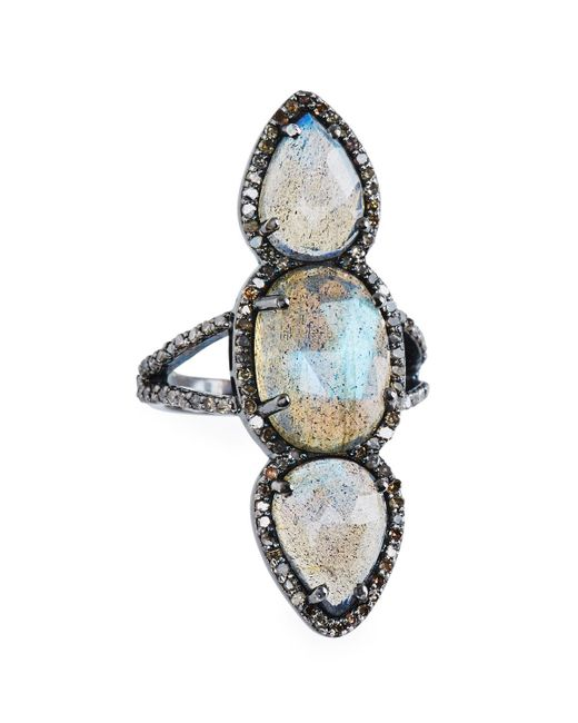 Bavna - Metallic Triple Labradorite & Diamond Ring - Lyst