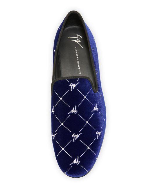 f60a39847 ... Giuseppe Zanotti - Blue Men's Logo-beaded Velvet Formal Slippers for Men  ...