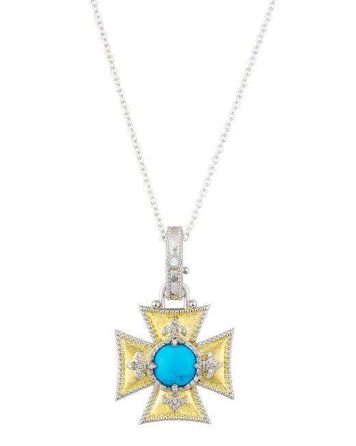 Jude Frances | Metallic Large Maltese Fleur Turquoise & Topaz Pendant Necklace | Lyst