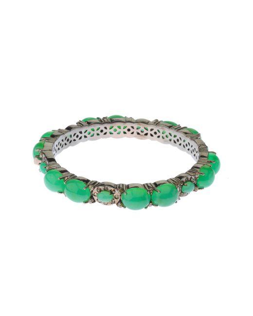 Bavna - Green Chrysoprase Cabochon & Champagne Diamond Bangle Bracelet - Lyst