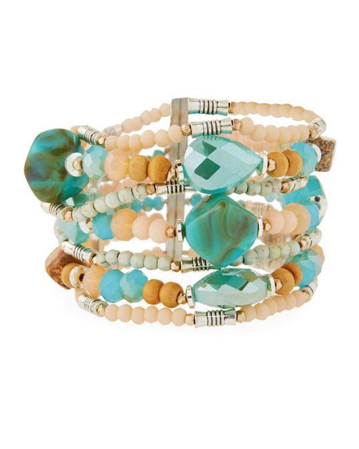 Nakamol - Blue Multi-row Beaded Stretch Bracelet - Lyst