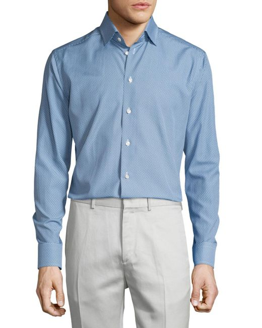 Eton of Sweden | Blue Golf-club Print Long-sleeve Sport Shirt for Men | Lyst