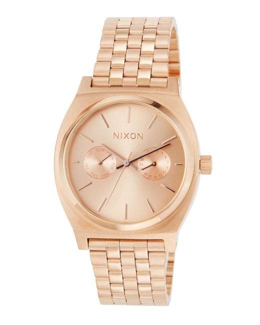 Nixon - Metallic 37mm Time Teller Deluxe Bracelet Watch Rose Golden - Lyst