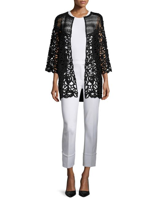 Escada Corded-lace Open-front Cardigan in Black - Save 56% | Lyst