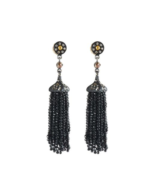 Bavna | Gray Diamond & Black Spinel Tassel Earrings | Lyst