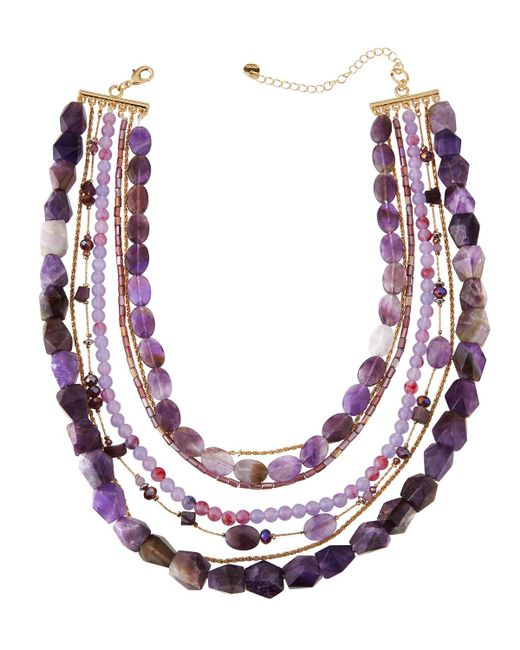 Lydell NYC - Purple Semi-layered Beaded Necklace - Lyst