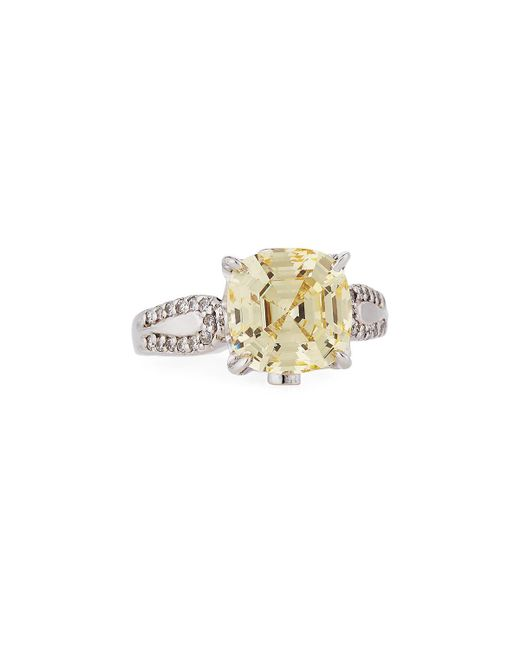 Fantasia by Deserio | Yellow Cushion-cut Canary Cz Crystal Ring | Lyst