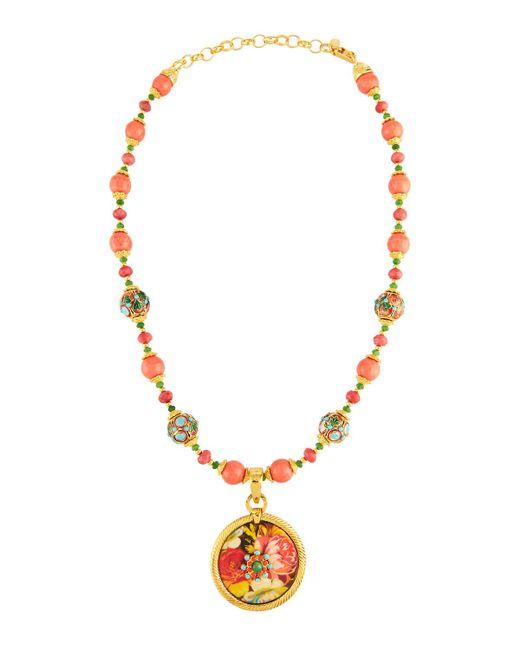 Jose & Maria Barrera | Metallic Cloisonné Beaded Necklace W/ Floral Découpage Pendant | Lyst