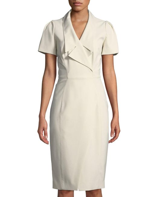 Zac Posen - White Collared Short-sleeve Cocktail Dress W/ Asymmetrical Slit - Lyst