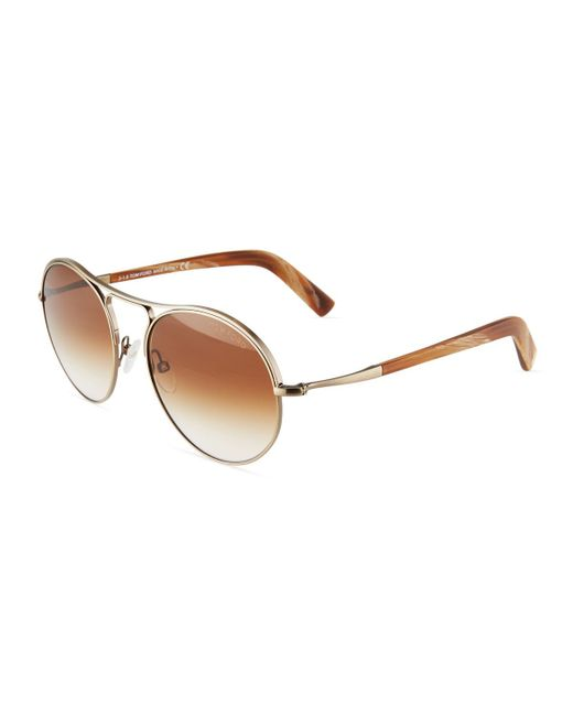 Tom Ford - Metallic Round Metal Sunglasses - Lyst