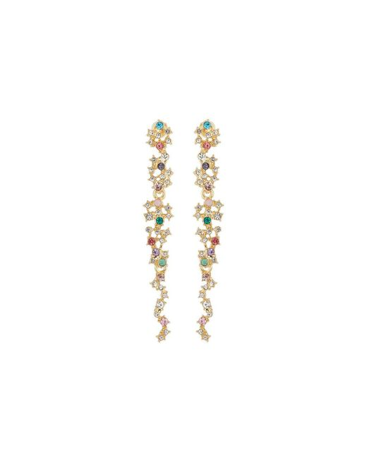 Fragments | Metallic Multicolor Crystal Statement Drop Earrings | Lyst
