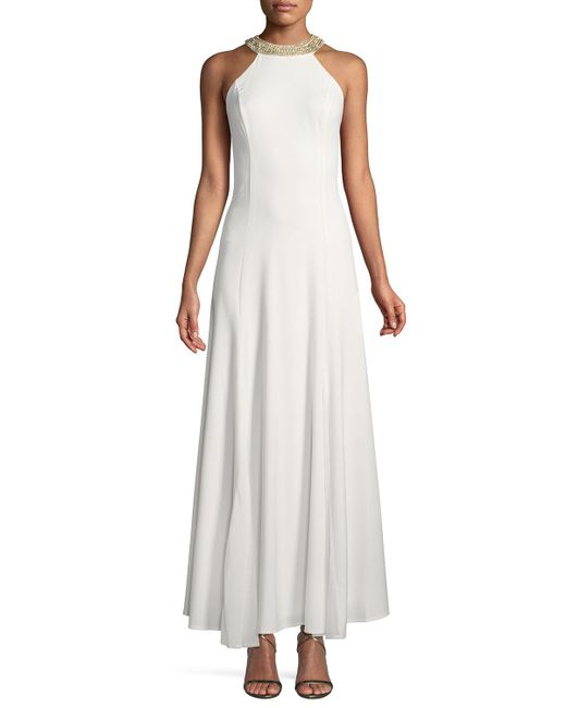 Marina - White Embellished Halter-neck A-line Gown - Lyst