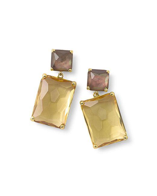 Ippolita - Metallic 18k Rock Candy® Snowman Double-drop Earrings In Citrine/shell - Lyst