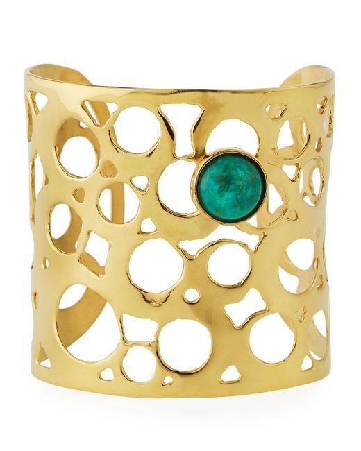 Devon Leigh | Metallic Wide Cutout Cuff Bracelet W/ Green Cabochon | Lyst