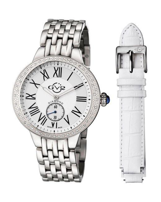 Gv2   Metallic 40mm Astor Bracelet Watch W/ Diamond Bezel & Interchangeable Strap   Lyst
